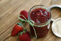 Strawberry Jam This sugar-free strawberry jam was very easy to make. Around 35 minutes from beginning to end. No pectin, no sugar, and I added some chia seeds for added nutrition.This sugar-free strawberry jam was very easy to make. Around 35 minutes from Jelly Recipes, Jam Recipes, Canning Recipes, Splenda Recipes, Sugar Free Strawberry Jam, Sugar Free Jam, Healthy Strawberry Jam Recipe, Strawberry Preserves Recipe Low Sugar, Strawberry Jelly Recipe Canning