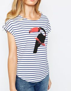People Tree Fairtrade Cotton Bretton Stripe T-Shirt with Toucan Motif