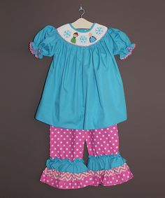 Look what I found on #zulily! Aqua Winter Smocked Top & Pink Ruffle Pants - Infant & Toddler by The Smocked Shop #zulilyfinds