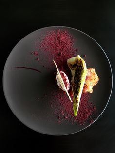 Lamb Ragout, Labneh, Apple Kimchi, Burnt Lettuce, Red Fruits and Beetroot Powder #plating #presentation