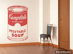 Wall Stickers Campbell Soup Can Campbell Soup Art, Wall Stickers New York, Andy Warhol, Campbell's Soup Cans, Kitchen Wall Decals, Soup Kitchen, Kitchen Collection, Yorkie, Canning