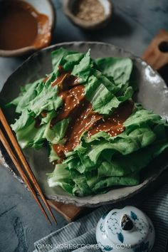 This refreshing and delicious appetizer, celtuce leaves salad, features a rich sesame sauce that will have you happily eating your veggies! {Vegan, Gluten-Free adaptable} Best Salad Recipes, Veggie Recipes, Snack Recipes, Restaurant Dishes, Green Veggies, Homemade Chili, Most Popular Recipes, Easy Salads, Cookbook Recipes