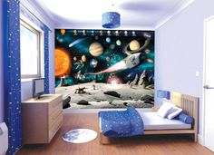 childrens space themed bedroom