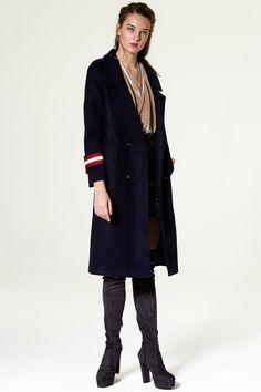 Piloa Long Coat Discover the latest fashion trends online at storets.com #LongCoat #Coat #navy