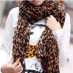 SODIAL- Fashion Leopard Pattern Shawl Scarf Wrap for Women Material  gaze  de paris Brand new soft, warm and comfortable Size  x Color  Brown Amazing  same ... 4787dbb2b90