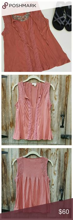 """Laced Tie Neck Tank by Meadow Rue Soft knit tie front tank in terracotta.  Relaxed fit, V-neck, crochet/lace/pintuck trim, pleated back. Length from back of neck 23"""", width at bust 18"""", width at hem 27"""". Modal/cotton/nylon, machine wash. EUC. Anthropologie Tops"""