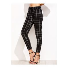Black Grid Print Drawstring Pants ($14) ❤ liked on Polyvore featuring pants, drawstring pants and drawstring trousers