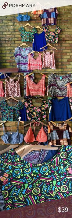 BUNDLE! 9 crop tops! Bikini top! Some NEW! Some are new with tags! All Large, but one is a medium and fits like a large. I WILL NOT SPLIT THEM UP SO PLEASE DON'T ask. Thanks!  trades  lowest in the comments.         Brands include- forever 21, mossimo NWT, Hollister, feathers NWT, wet seal, h.i.p. (Happening in the present).    Some are worn and show signs of wear, others brand new without tags as well. Hollister Tops Crop Tops