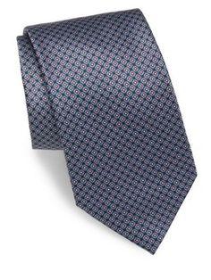 BRIONI Mini-Square Print Silk Tie. #brioni #tie