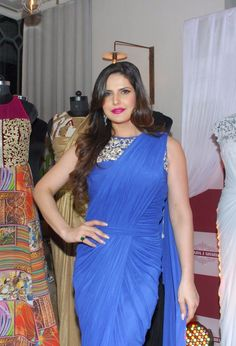 Zarine Khan Looks Smoking Hot In Blue Saree At Zulekha J Shariff's New Collection Launch in Nido, Mumbai Zarine Khan Hot, Hollywood Model, Vogue Beauty, Blue Saree, Beauty Awards, Fancy Sarees, Bikini Pictures, Bollywood Stars, Bikini Models