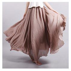 2017 Fashion Brand Women Linen Cotton Long Skirts Elastic Waist Pleated Literary style Vintage Summer Skirts Faldas Saia 18color