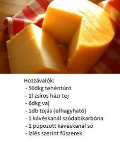 sajt adalékok nélkül - homemade cheese without additives My Recipes, Cooking Recipes, Healthy Recipes, Hungarian Recipes, Homemade Cheese, Kaja, Jar Gifts, Cantaloupe, Gastronomia