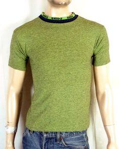 7028cc0dc5cbfc vtg 80s 90s SKIDZ Neon Green Skate T-Shirt Surf knit collar Youth M   Adult  S