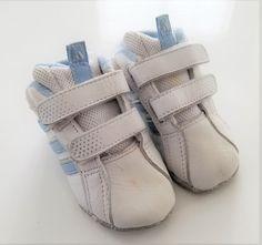 7c2d3d40e ADIDAS Leather Infant Crib Shoes Soft Sole White Pale Blue Baby Sz 2   fashion