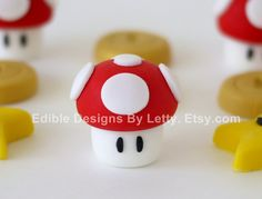 12 Edible Fondant Cupcake Toppers - 3D Super Mario Mushroom, Star & Gold Coin. $16.95, via Etsy.