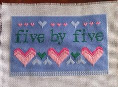 Five by five needlepoint by SoManyMiniMini on Etsy, $48.00