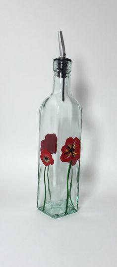 SOLD.     Glass Oil Bottle Soap Dispenser Hand by KitchenBarHomeDecor