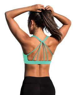 c44c880598 Padded Strappy Sports Bra Yoga Tops Activewear Workout Clothes for Women -  Florida Keys - C317YGM7NT3