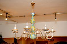 Lampadario a 8 luci in vetro di Murano e ceramica