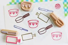 cooking stamp. kitchen utensil hand carved rubber stamp. frying pan, mixing bowl, cutting board, knife stamp. scrapbooking. choose option