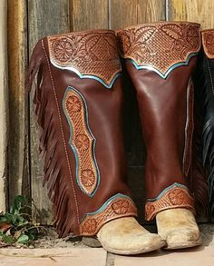 Brown And Turquoise Half Chaps Leather CraftingMotorcycles