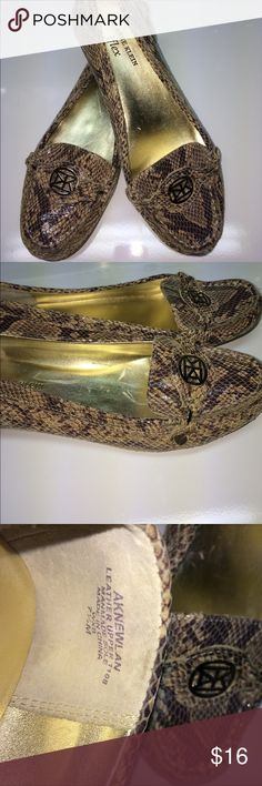 Anne Klein iFlex Leather Shoes Classic and Stylish Anne Klein Leather Snake skin design loafers shoes. These are in very good condition slightly worn. Size 7.5 medium. Smoke and pet free house. Willing to bundle items. See photos for more details. Anne Klein Shoes Flats & Loafers