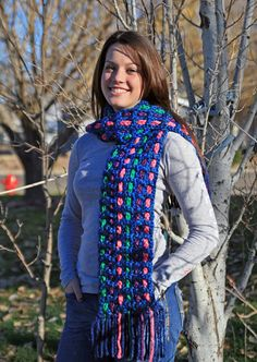 Multicolor crocheted chunky scarf by WritingPlaces on Etsy