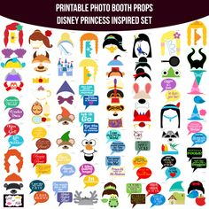 Instant Download Disney Princess Inspired Printable Photo Booth Prop Set