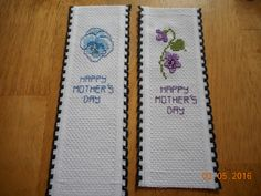 cross stitch Mother's Day bookmarks available etsy shop DebbyWebbysCards