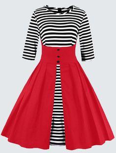 Plus Size Vintage Striped Button Embellished Dress