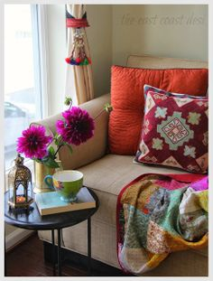 ⋴⍕ Boho Decor Bliss ⍕⋼ bright gypsy color & hippie bohemian mixed pattern home decorating ideas - Magenta Dhalia's tucked in a brass vintage beermug