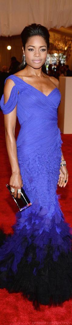 Naomi Harris (British actress in James Bond, Skyfall)  in Donna Karan Atelier at the 2013 Met Gala