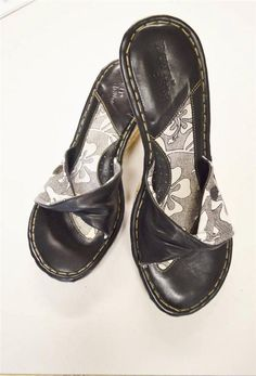 Born Drilles Verano Rope Wedge Slides Sandals 9/40.5 Black White #Brn #PlatformsWedges