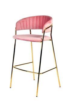 Modrest Brandy Modern Pink Fabric Bar Stool (Set of 2)