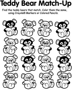 Turn Photo Into Coloring Page Crayola Luxury Teddy Bear Match Up Coloring Page Whale Coloring Pages, Batman Coloring Pages, Family Coloring Pages, Monster Coloring Pages, Animal Coloring Pages, Coloring Pages For Kids, Corduroy Book, Preschool Learning Activities, Motor Activities
