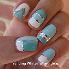 Nails Ideas :Handsome Nail Art Striping Tape Design Lines Set-Nail nail design with lines - Nail Desing Nail Art Simple, Trendy Nail Art, Nail Art Diy, Diy Art, Nail Art Stripes, Striped Nails, White Nail Art, White Nails, White Nail Designs