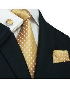 TheDapperTie - New Men's Cream with White Polka Dots Silk Tie Set 23M ~j
