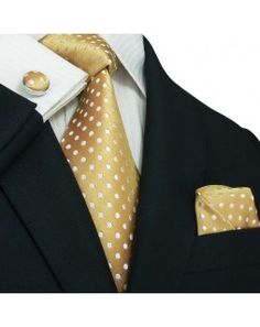 TheDapperTie - New Men's Cream with White Polka Dots Silk Tie Set 23M