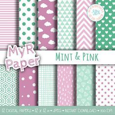 "Digital Paper Pack: ""Mint & Pink"" dots, clouds, triangles, chevron, hearts, stars, drops, confetti, diamonds, hexagons.   50% OFF ON ORDERS OVER 12 $ (OR NEARLY 12 €) USE C... #patterns #design #graphic #digitalpaper #scrapbooking"