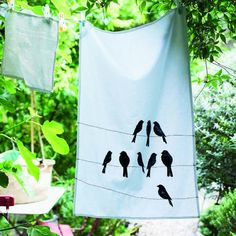 DIY stencilled tea towel - tutorial with free bird template