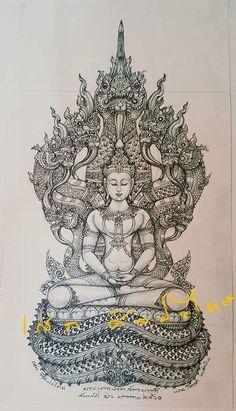 Cambodian Tattoo, Cambodian Art, Thailand Tattoo, Thailand Art, Weird Drawings, Art Drawings, Tiki Tattoo, Maori Tattoos, Tribal Tattoos