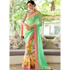 Sea Green Multicolored Half and Half Saree