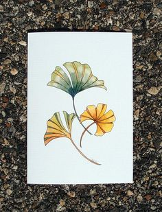 Ginkgo Leaves Watercolor and Ink Greeting Card - Printed - Ginkgo Biloba - Any Occasion - Birthday - Friendship - Botanical Illustration