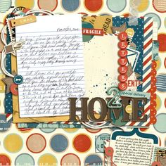 Love this #postal #digiscrap page by @Tasha - great idea to scrap an important note/postcard. | Mr. Postman kit from peppermintcreative.com