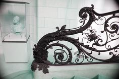 Eisentreppe - New Ideas Wrought Iron Handrail, Metal Spindles, Iron Handrails, Iron Railings, Iron Staircase, Stair Railing, Stairs, Staircases, Lobby Bar