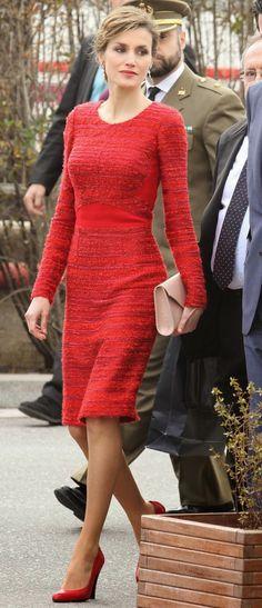 Real MyRoyals: Queen Letizia in Felipe Varela dressw, February 12, 2015