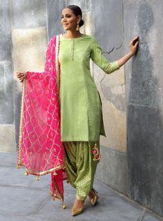Green Chanderi Stitched Salwar Kameez Dupatta