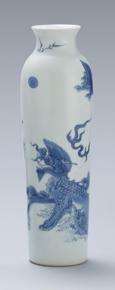 A blue and white 'Qilin' sleeve vase, Transitional Period