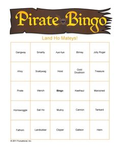 free pirate bingo printable