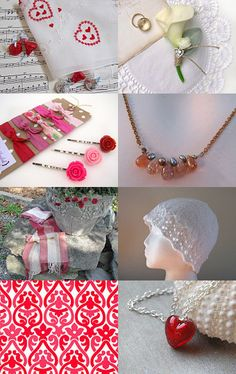 Strawberries and Cream by Laura on Etsy--features one of my Woven Scarves #aclhandweaver #ValentinesDay